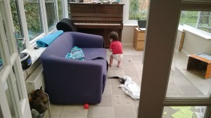 Lovely boy, playing all by himself :)