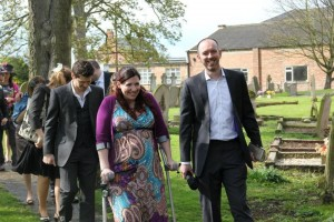 On crutches at a wedding - look at the size of me!