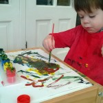 Painting with a paintbrush! 19 months old