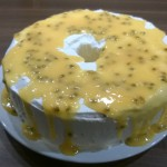 Mary Berry's Angel Food Cake with Lemon Curd and Passionfruit drizzle
