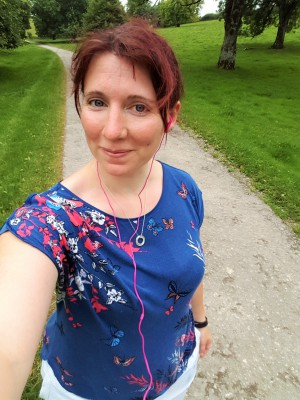 Me on a run in my dodgy running gear!
