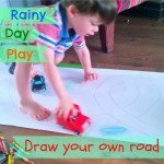 Rainy day play – draw your own road (26 mths)