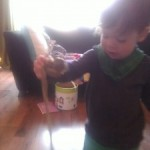 Parcel Tape play and a slightly longer attention span! Age 16 months