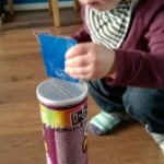 Playing with a Pringles tube and much happier mealtimes 16-17 months