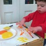 Toddler Sunrise Painting – 21 months