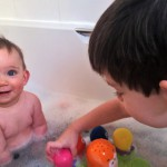 Shared Bathtime & Silliness, Siblings June 2015